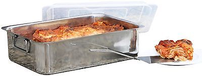 Lasagna Roaster Serving Pan, 14 Inch 4 Piece Cover & Spatula Stainless Steel