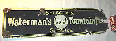 ANTIQUE WATERMANS IDEAL FOUNTAIN INKWELL PEN COLBALT PORCELAIN STORE ART SIGN