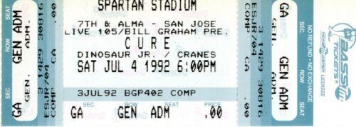 THE CURE/ROBERT SMITH 1992 UNUSED TICKET-SPARTAN STADIUM SAN JOSE CALIFORNIA