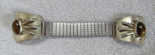 Southwest Indian Design Themed Tiger Eye Stone Nickle Silver Watch Tips Bracelet
