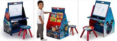 3in1 Holz Schreibtisch mit Hocker + Maltafel + Spielzeugregal +
