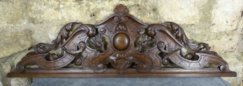 """39""""  Antique French Large Hand Carved Wood Solid Oak Architectural Pediment"""