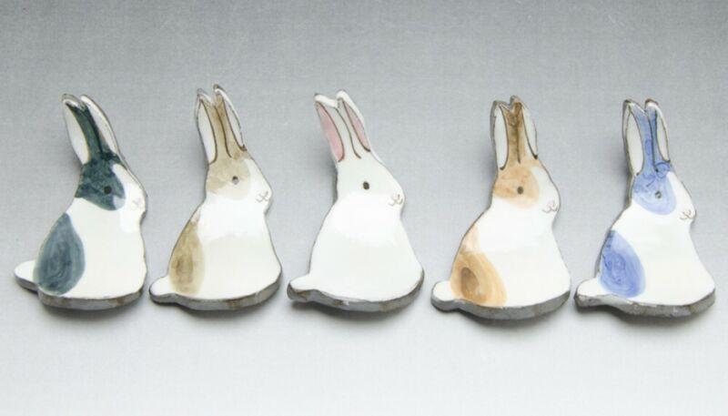 Hashioki Kyo Kiyomizu yaki Japanese Chopstick rest set Fuku Usagi Rabbit Japan