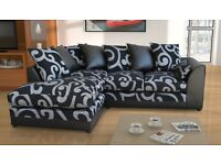 New Zina Black Swirl Fabric Corner Sofa with Footstool, Armchair, 2 or 3 Seater