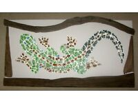 Mosaic picture - Large glass spotted gecko with driftwood surround -New Quick sale needed