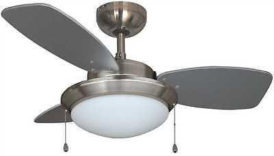 "Royal Cove 3 Blade 30"" Brushed Chrome Dual Mount Ceiling Fan w/Light Kit 2478507"