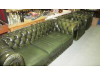 Genuine old green chesterfield suite,sofa with two armchairs,we can deliver