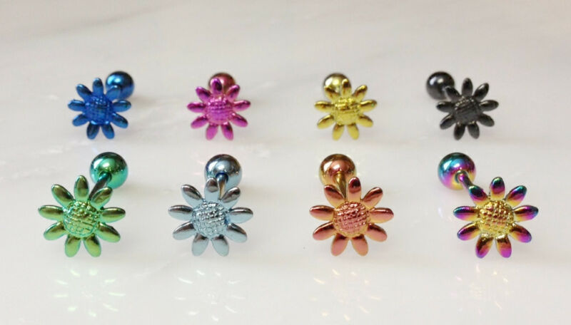 T#87 - 8pc Titanium Daisy Flower Tongue Rings Tounge