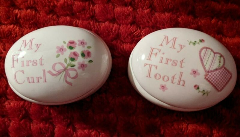 Baby Girl First Curl & First Tooth PINK Ceramic Keepsake Boxes