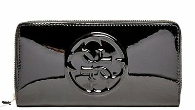 NEW Guess Shine Patent Zip Around Wallet Clutch Bag, Black