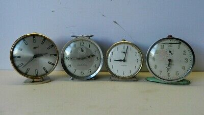 Four Vintage Alarm Clocks Spares or Repair