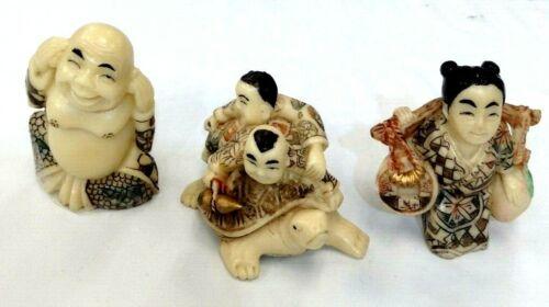 Epoxy Resin Netsuke Figurine Set of 3