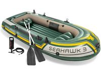 Intex Seahawk Inflatable 3-Person Boat Set with Oars + Inflator + Anchor Kit