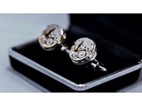 Fathers Day Gift Set Watch Movement Silver Alloy Gold Cufflinks WITH Velvet Display