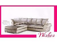 Large Corner Crushed Velvet Sofa Mink Silver Black BRAND NEW Local Retail Store Glasgow Stunning