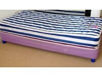 Silentnight full size girls single bed with clean mattress. Converts into two beds for sleepovers