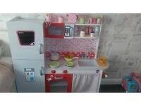 Girls wooden plum kitchen, with food trolley and accessories