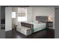 Home Of Beds Louisa Glitz Velvet Double Bed Frame
