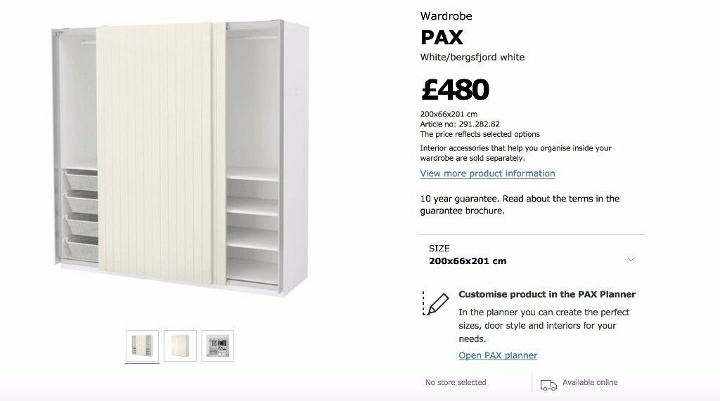 White IKEA PAX Wardrobe with panelled sliding doors *GREAT CONDITION* incl. 2 shelves and rails