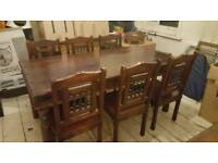 Guava Wood table and chairs with matching coffee table
