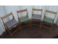 Set of Four Folding Wooden Seats with Covers