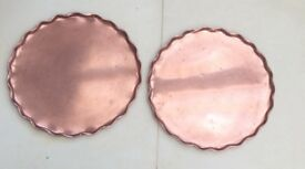 Vintage Copper Pub / Bar Serving Tray x 2