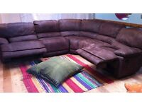 Corner Sofa in Brown Nubuck Leather Harvey Norman Falkon Double Recliner nearly new condition