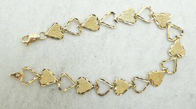 14K Yellow Gold Diamond Cut Textured Open Heart Link Chain Bracelet 5.5g - Diamond Cut Open Link Chain
