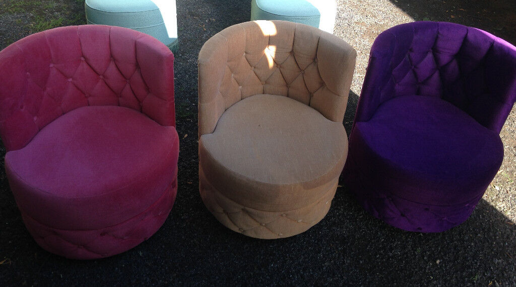 3 X retro armchair sofa from mid century purple beige pink