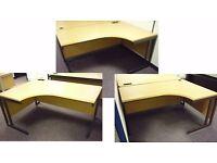 3 x Light Oak Finish Solid Wood Curved Office Desks: 1 x Left Curve + 2 x Right Curve
