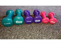 Dumbells weights yoga. Excercise. Gym