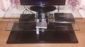 Black Gloss / Glass TV Unit - Excellent Condition