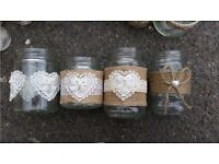Hessian and Lace Decorated Glass Jars for Wedding Decorations