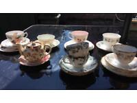 Mismatched Vintage Teacups and Saucers