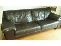 Brown leather sofa and 1 chair
