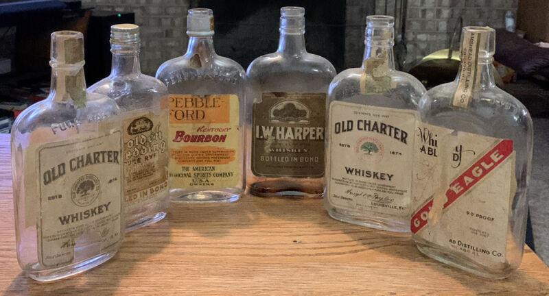 Prohibition Era Whiskey Pint Bottles (Lot Of 6) Liquor