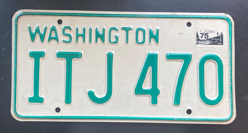 NICE!! 1968-1982 Washington Passenger Vehicle License Plate Single, Natural 1975