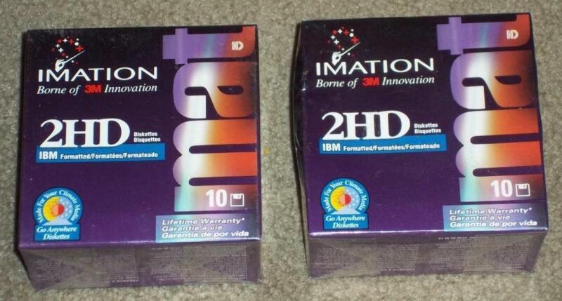 20 NIB FACTORY SEALED IMATION 3M 2HD IBM FORMATTED FLOPPY DISKETTES