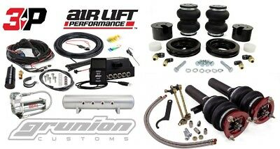 "Air Lift 3P Kit 1/4"" VW Golf SportWagen TDi MK7 Front Rear 444C 2.5 Gallon Tank"