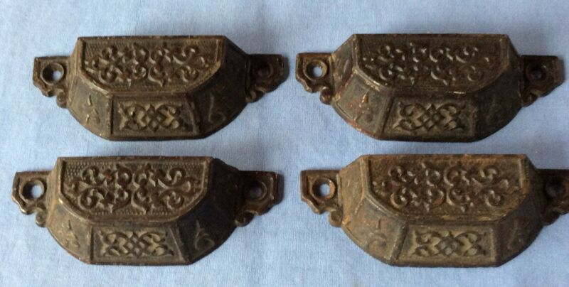 Lot Of 4 Vintage Cast Iron Brown Drawer Pulls 4 Inches U