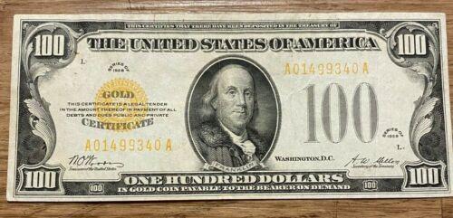 1928 US $100 GOLD CERTIFICATE FR 2405 PAPER MONEY
