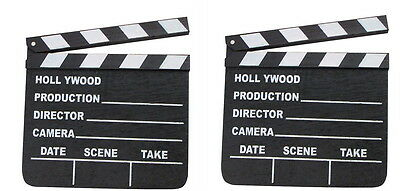 2 HOLLYWOOD CLAPBOARD CLAPPER CLAP BOARDS MOVIE SIGN DIRECTOR'S PROP CHALKBOARD - Clap Boards