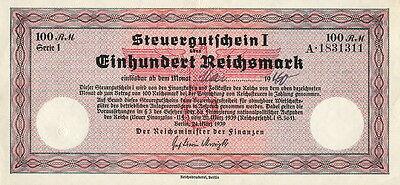 Ro.716 100 Reichsmark 1939 Steuergutschein (2)