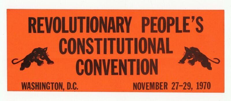 Black Panther Party 1970 Original Washington Convention Handbill Huey J7090
