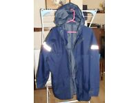 outdoor jacket old blue with reflective strips chest aprox 120cm