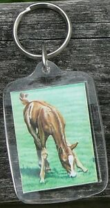 Friesian and young horse keychains, by Janet Griffin-Scott
