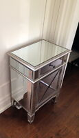 Mirrored nightstand or entry way table