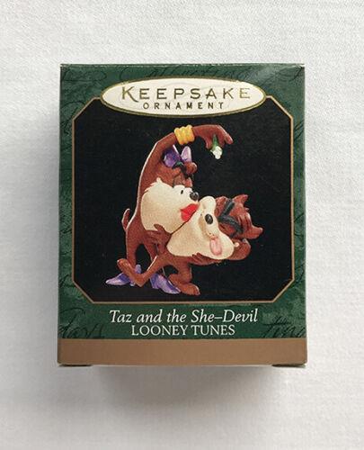 1998 Taz and the She-Devil ~ A Surprise Kiss! ~ Hallmark Miniature Ornament