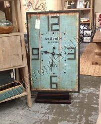 Rectangle Wall Clock Aqua Blue 36H Distressed Wood Cottage Chic New