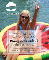 Yoga + a Spray Tan: $75 special. BEAUTY FROM THE INSIDE OUT!